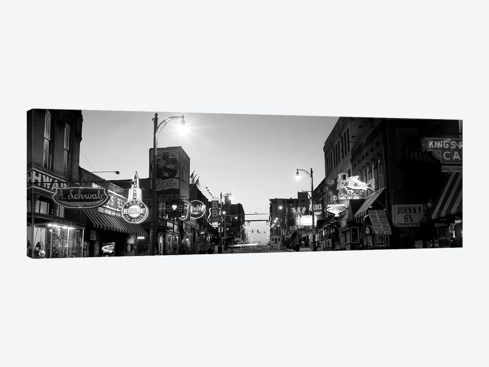Buildings In A City At Dusk, Beale Street, Memphis, Tennessee, USA by Panoramic Images 1-piece Canvas Wall Art