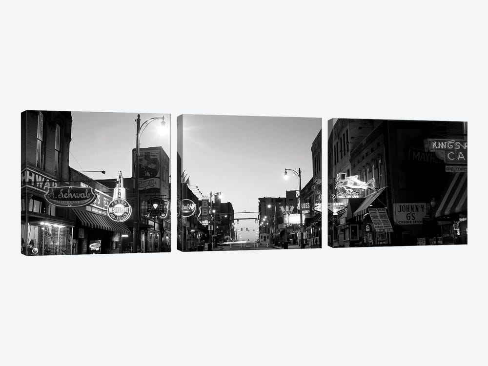 Buildings In A City At Dusk, Beale Street, Memphis, Tennessee, USA by Panoramic Images 3-piece Canvas Art