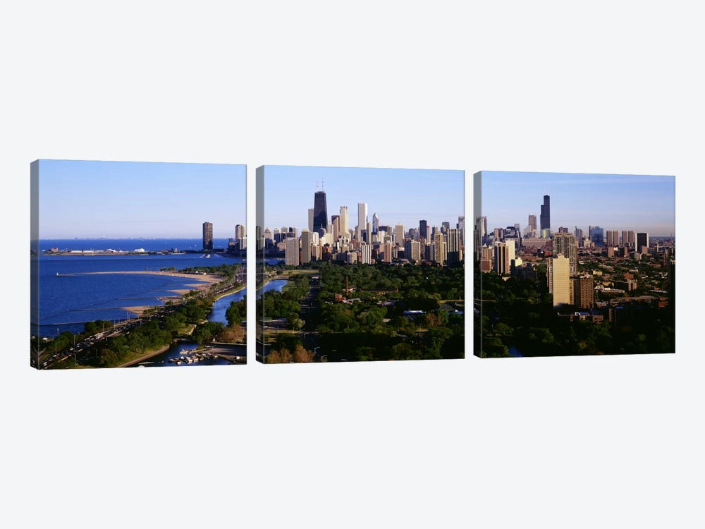 Aerial View of SkylineChicago, Illinois, USA by Panoramic Images 3-piece Canvas Art