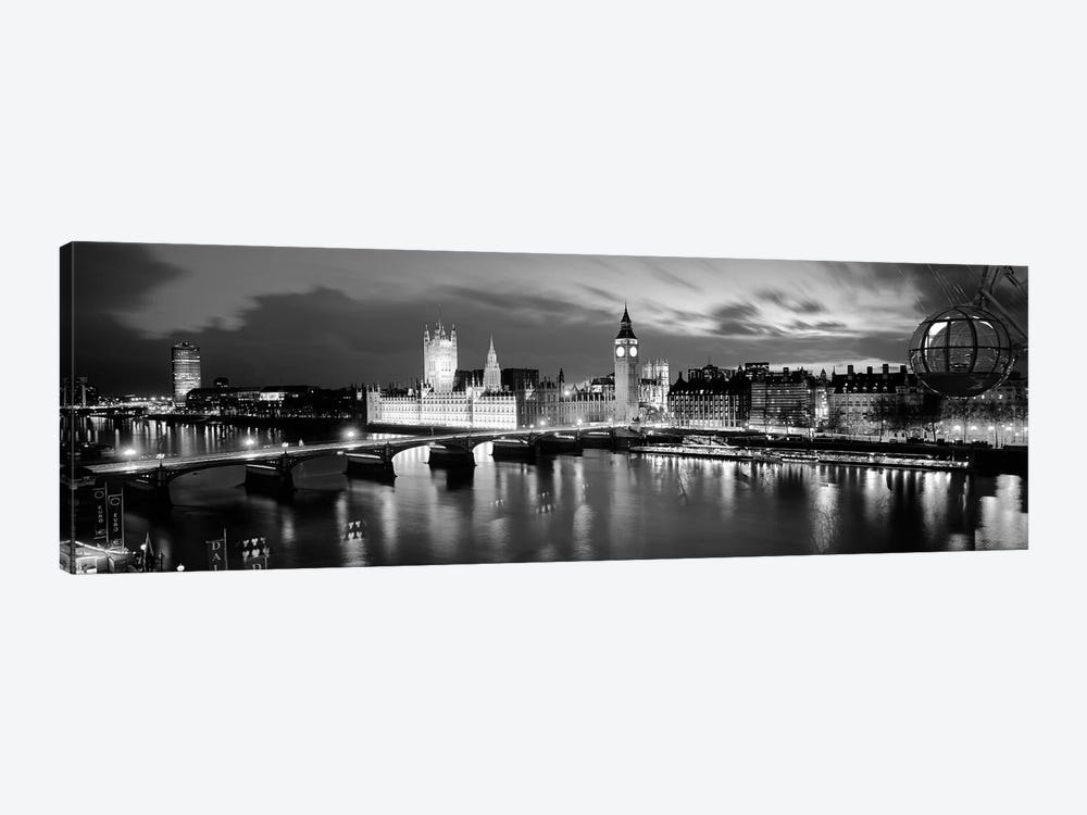 Buildings Lit Up At Dusk, Big Ben, Houses Of Parliament, London, England by Panoramic Images 1-piece Canvas Print