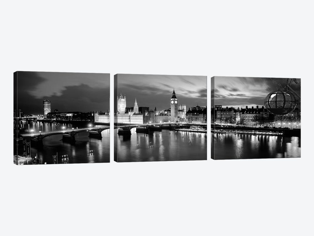 Buildings Lit Up At Dusk, Big Ben, Houses Of Parliament, London, England by Panoramic Images 3-piece Canvas Print