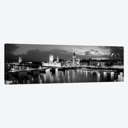 Buildings Lit Up At Dusk, Big Ben, Houses Of Parliament, London, England 3-Piece Canvas #PIM15100} by Panoramic Images Art Print