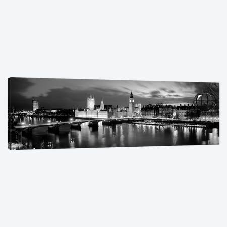 Buildings Lit Up At Dusk, Big Ben, Houses Of Parliament, London, England Canvas Print #PIM15100} by Panoramic Images Art Print