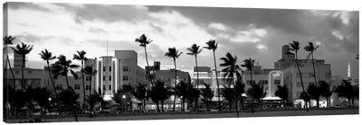 Buildings Lit Up At Dusk, Ocean Drive, Miami Beach, Florida, USA Canvas Art Print