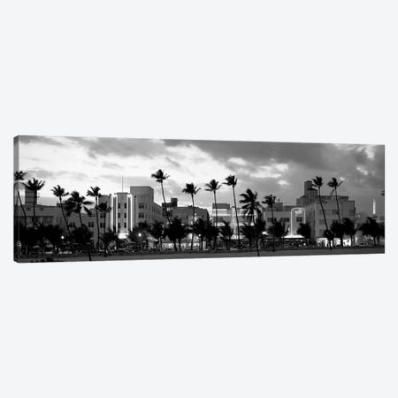 Buildings Lit Up At Dusk, Ocean Drive, Miami Beach, Florida, USA Canvas Print #PIM15101} by Panoramic Images Art Print