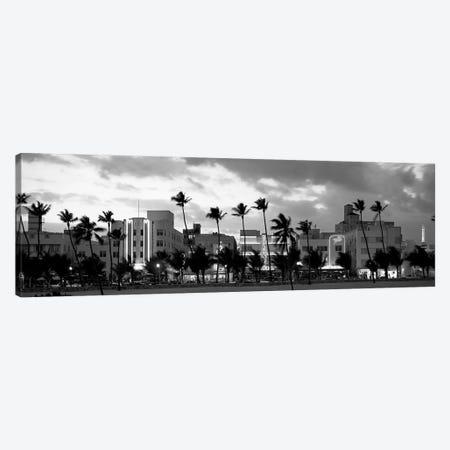 Buildings Lit Up At Dusk, Ocean Drive, Miami Beach, Florida, USA Canvas Print #PIM15101} by Panoramic Images Art Print