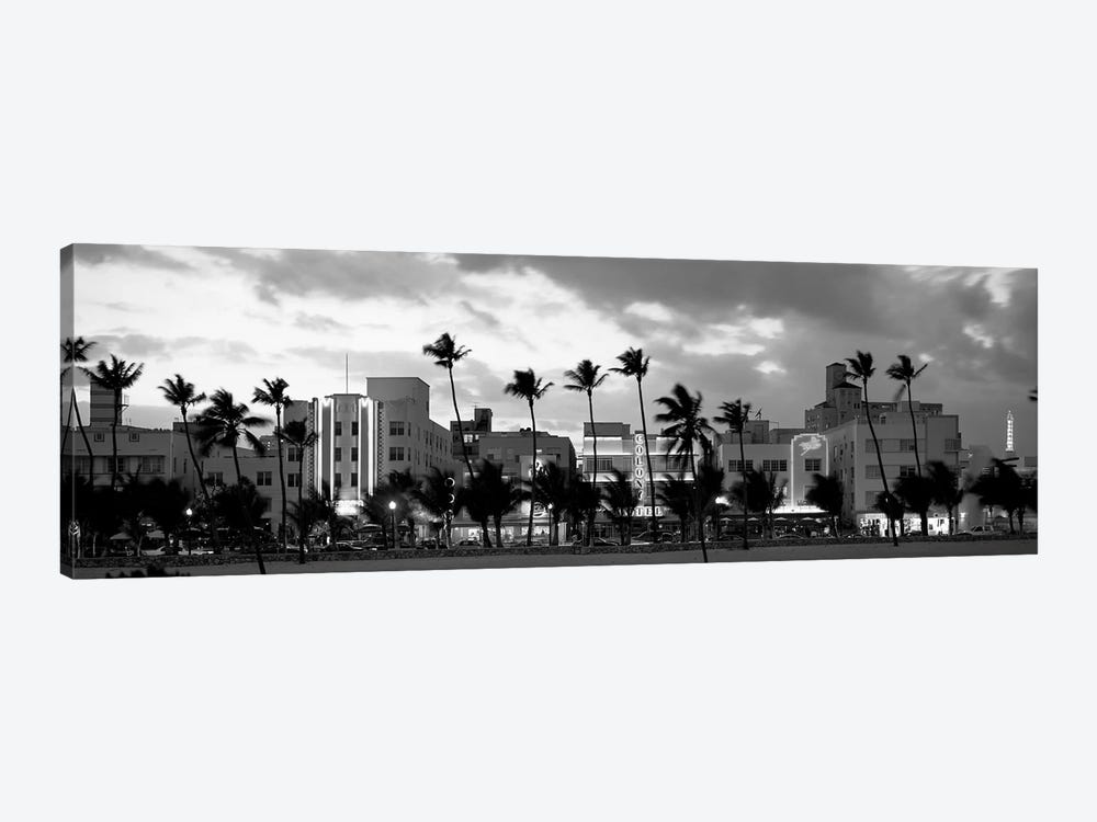 Buildings Lit Up At Dusk, Ocean Drive, Miami Beach, Florida, USA by Panoramic Images 1-piece Canvas Artwork