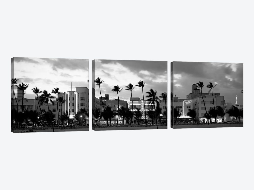 Buildings Lit Up At Dusk, Ocean Drive, Miami Beach, Florida, USA by Panoramic Images 3-piece Canvas Wall Art