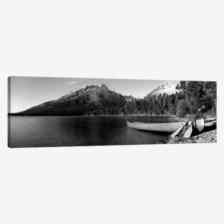 Canoe In Leigh Lake, Rockchuck Peak, Teton Range, Grand Teton National Park, Wyoming, USA I Canvas Print #PIM15102} by Panoramic Images Canvas Print