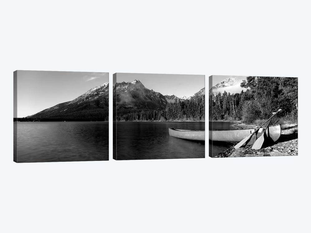 Canoe In Leigh Lake, Rockchuck Peak, Teton Range, Grand Teton National Park, Wyoming, USA I by Panoramic Images 3-piece Art Print