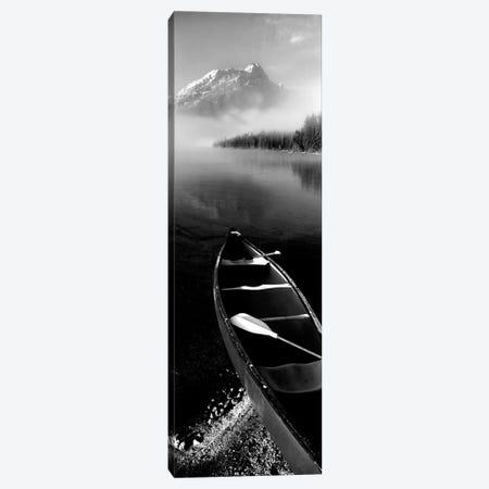 Canoe In Leigh Lake, Rockchuck Peak, Teton Range, Grand Teton National Park, Wyoming, USA II 3-Piece Canvas #PIM15103} by Panoramic Images Art Print
