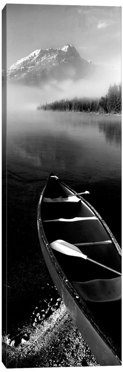 Canoe In Leigh Lake, Rockchuck Peak, Teton Range, Grand Teton National Park, Wyoming, USA II Canvas Art Print