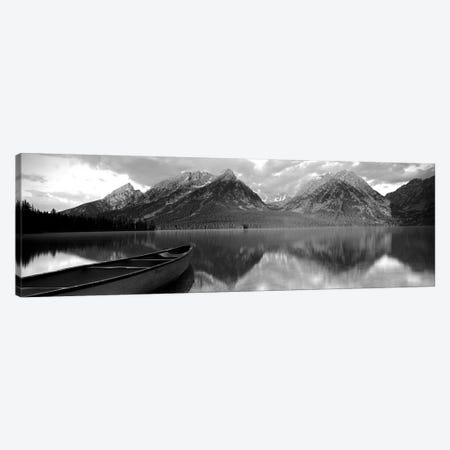 Canoe Leigh Lake Grand Teton National Park, WY USA Canvas Print #PIM15104} by Panoramic Images Canvas Wall Art