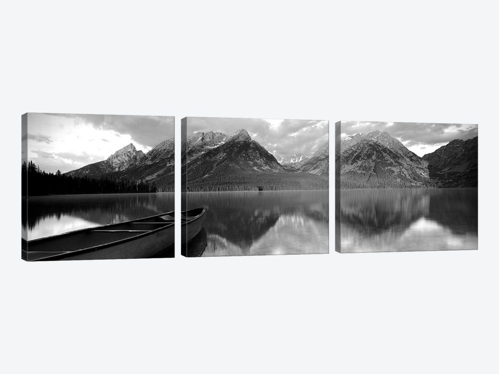 Canoe Leigh Lake Grand Teton National Park, WY USA by Panoramic Images 3-piece Canvas Print