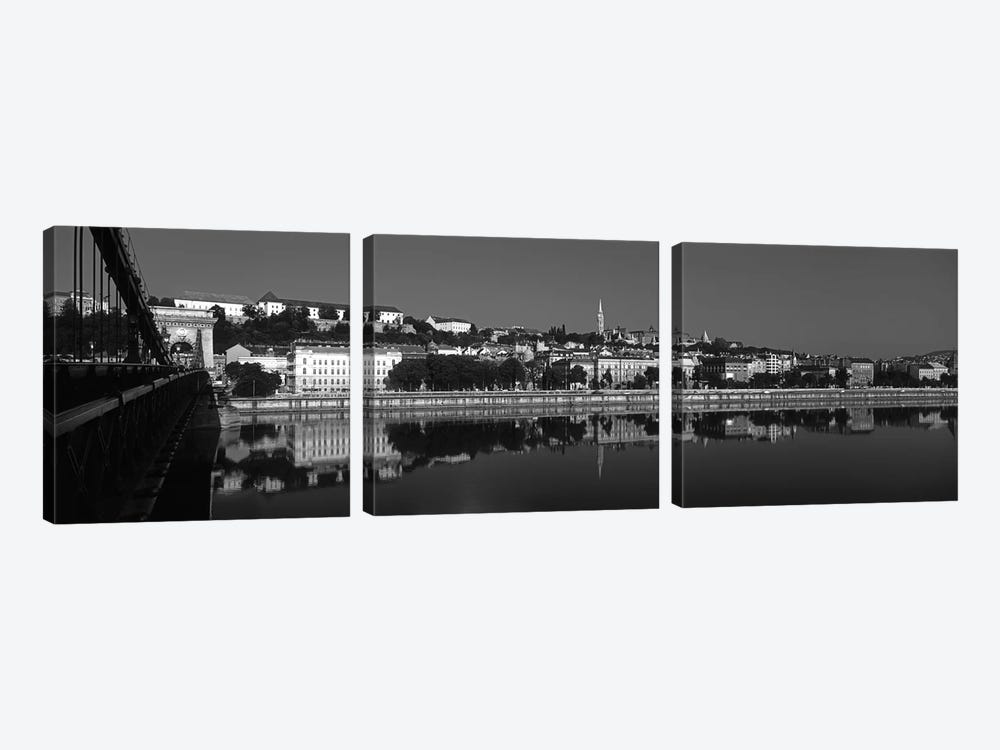 Chain Bridge Over Danube River, Budapest, Hungary by Panoramic Images 3-piece Canvas Artwork