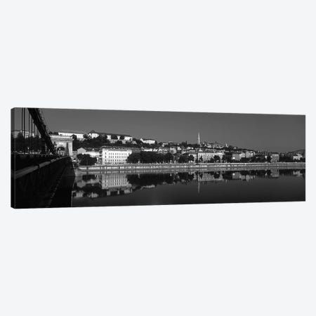 Chain Bridge Over Danube River, Budapest, Hungary 3-Piece Canvas #PIM15109} by Panoramic Images Canvas Print