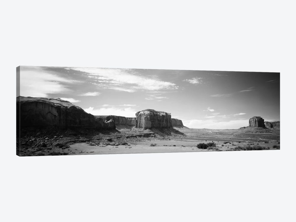 Desert Landscape In B&W, Monument Valley, Navajo Nation, USA by Panoramic Images 1-piece Art Print