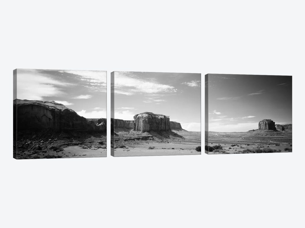 Desert Landscape In B&W, Monument Valley, Navajo Nation, USA by Panoramic Images 3-piece Art Print