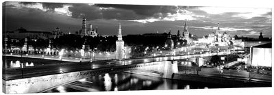 City Lit Up At Night, Red Square, Kremlin, Moscow, Russia Canvas Art Print