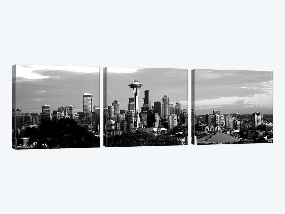 City Viewed From Queen Anne Hill, Space Needle, Seattle, King County, Washington State, USA by Panoramic Images 3-piece Canvas Wall Art