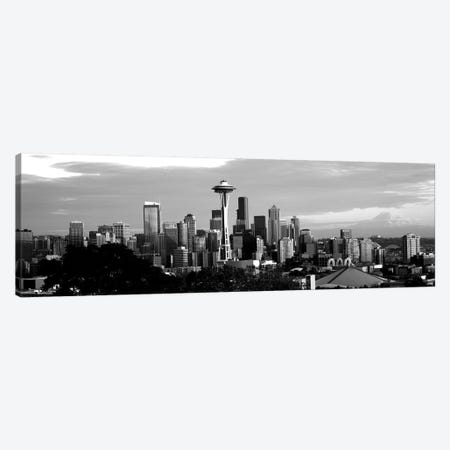 City Viewed From Queen Anne Hill, Space Needle, Seattle, King County, Washington State, USA 3-Piece Canvas #PIM15112} by Panoramic Images Canvas Artwork
