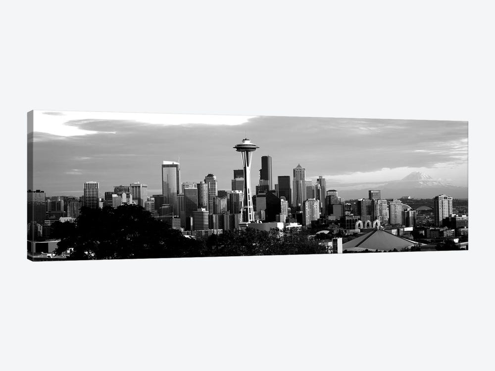 City Viewed From Queen Anne Hill, Space Needle, Seattle, King County, Washington State, USA by Panoramic Images 1-piece Canvas Wall Art