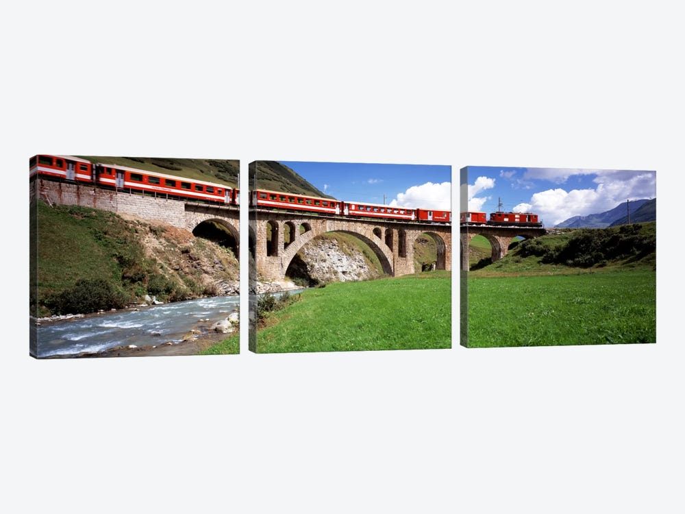 Train Travelling Along Furka-Oberalp Railway, Andermatt, Switzerland by Panoramic Images 3-piece Canvas Artwork