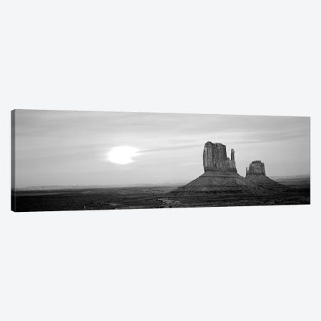 East Mitten And West Mitten Buttes At Sunset, Monument Valley, Utah, USA 3-Piece Canvas #PIM15124} by Panoramic Images Canvas Artwork