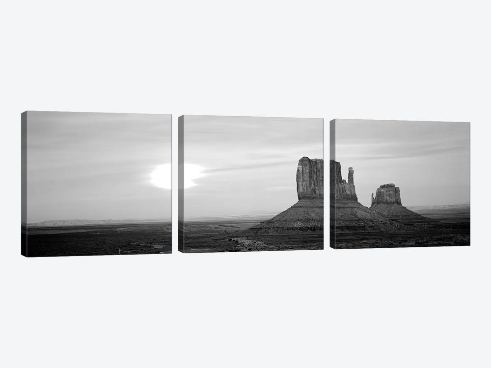 East Mitten And West Mitten Buttes At Sunset, Monument Valley, Utah, USA by Panoramic Images 3-piece Canvas Art Print