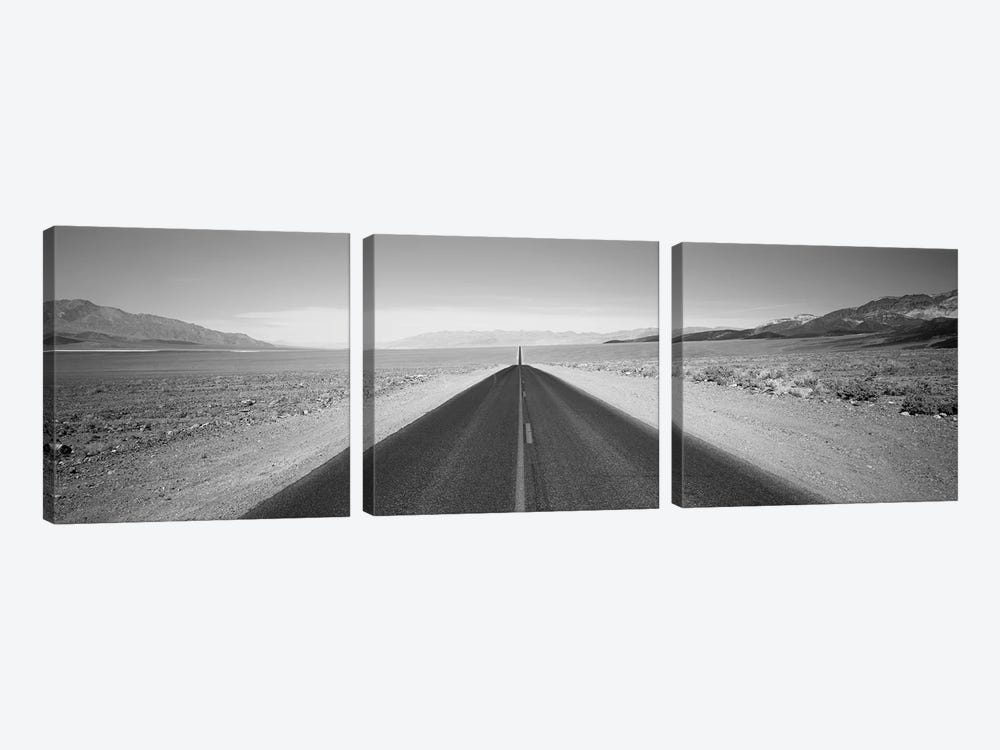 Empty Highway In Death Valley, California, USA by Panoramic Images 3-piece Canvas Artwork