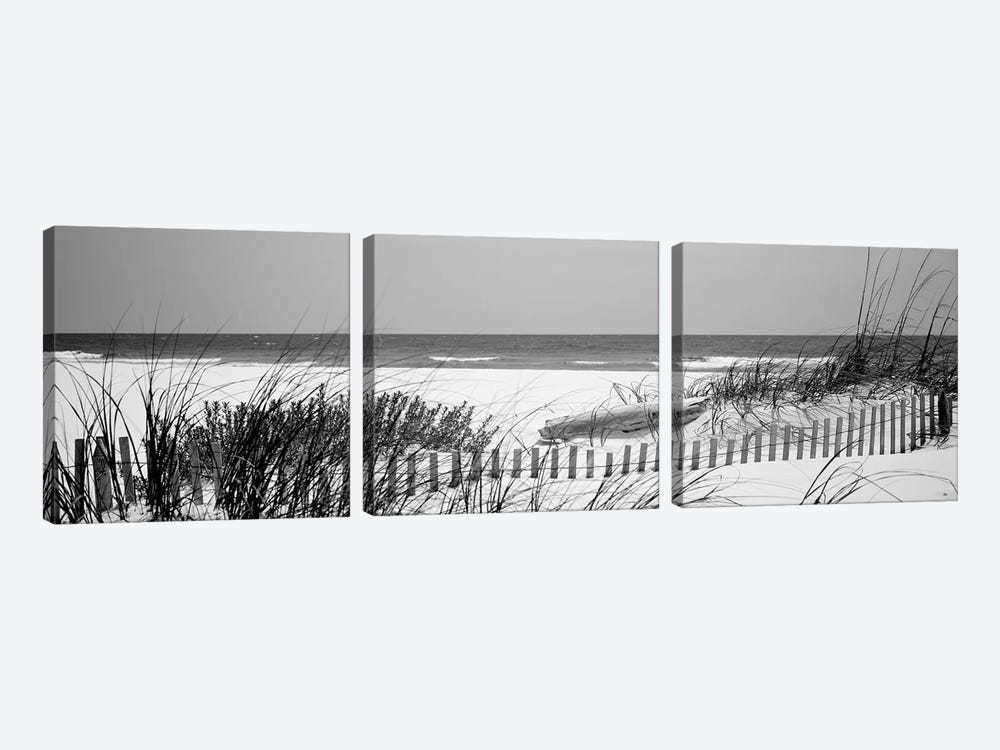 Fence On The Beach, Bon Secour National Wildlife Refuge, Gulf Of Mexico, Bon Secour, Baldwin County, Alabama, USA by Panoramic Images 3-piece Canvas Art