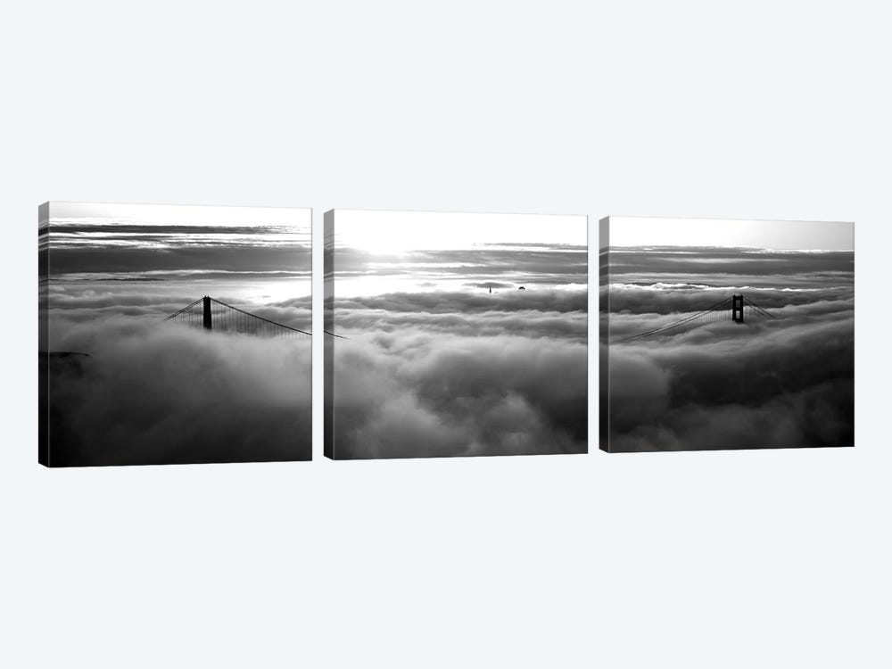Golden Gate Bridge Covered With Fog Viewed From Hawk Hill, San Francisco Bay, San Francisco, California, USA by Panoramic Images 3-piece Canvas Art Print