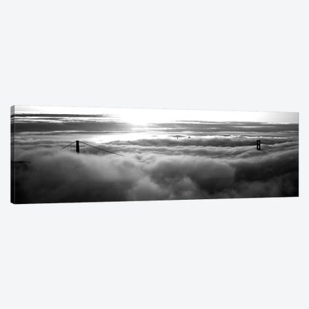 Golden Gate Bridge Covered With Fog Viewed From Hawk Hill, San Francisco Bay, San Francisco, California, USA 3-Piece Canvas #PIM15135} by Panoramic Images Art Print