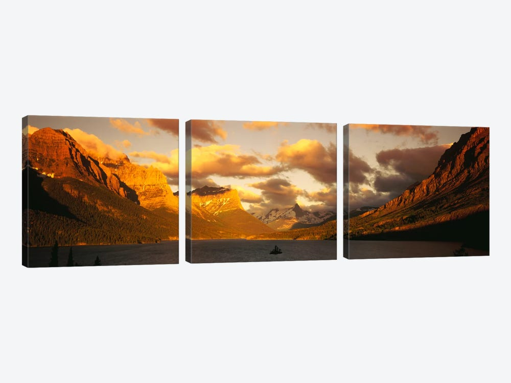 Saint Mary Lake & Lewis Range, Glacier Bay National Park, Montana, USA by Panoramic Images 3-piece Canvas Artwork
