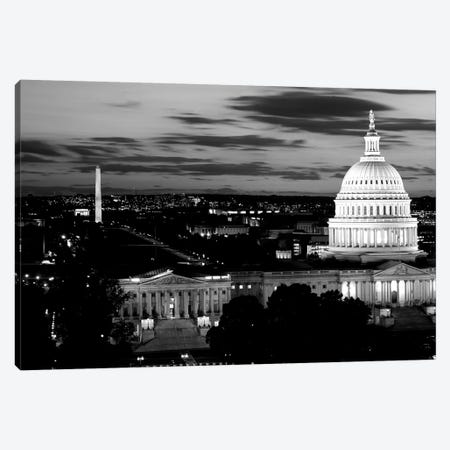 High-Angle View Of A City Lit Up At Dusk, Washington DC, USA Canvas Print #PIM15141} by Panoramic Images Canvas Print