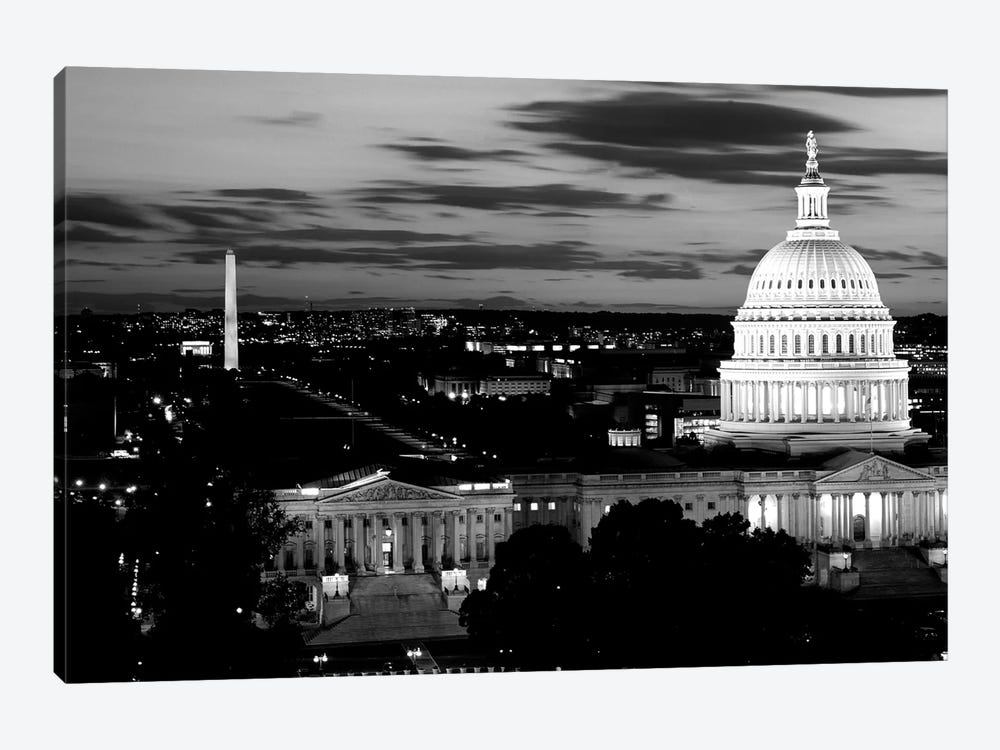 High-Angle View Of A City Lit Up At Dusk, Washington DC, USA by Panoramic Images 1-piece Canvas Art
