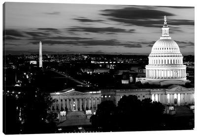 High-Angle View Of A City Lit Up At Dusk, Washington DC, USA Canvas Art Print