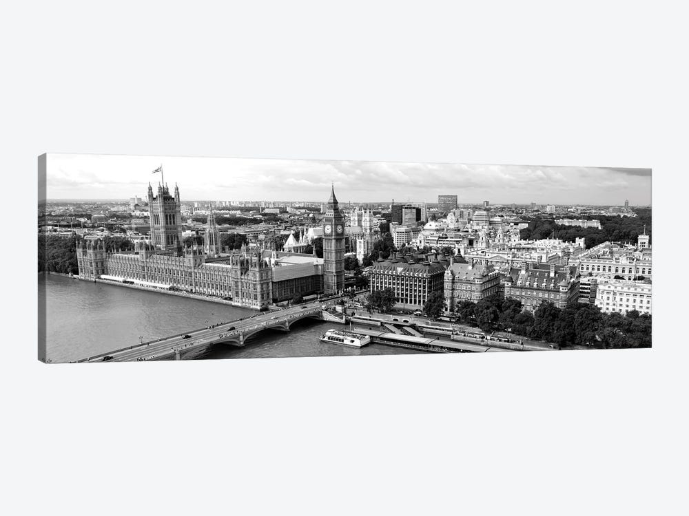 High-Angle View Of A Cityscape, Houses Of Parliament, Thames River, City Of Westminster, London, England by Panoramic Images 1-piece Art Print