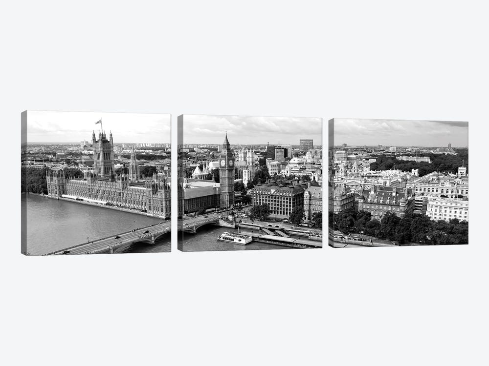 High-Angle View Of A Cityscape, Houses Of Parliament, Thames River, City Of Westminster, London, England by Panoramic Images 3-piece Canvas Art Print