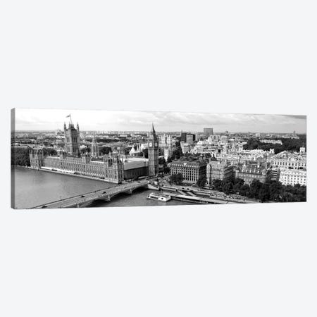 High-Angle View Of A Cityscape, Houses Of Parliament, Thames River, City Of Westminster, London, England 3-Piece Canvas #PIM15144} by Panoramic Images Canvas Art