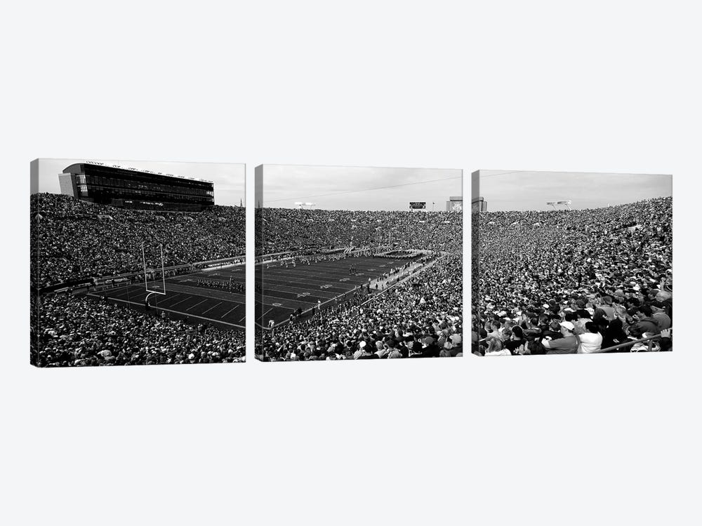 High-Angle View Of A Football Stadium Full Of Spectators, Notre Dame Stadium, South Bend, Indiana, USA by Panoramic Images 3-piece Canvas Art Print