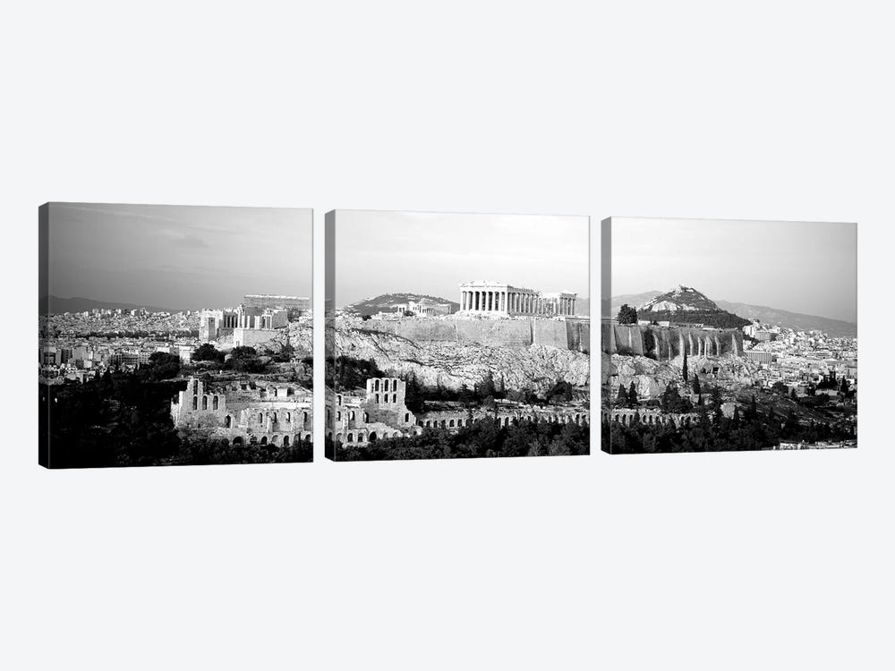 High-Angle View Of Buildings In A City, Acropolis, Athens, Greece by Panoramic Images 3-piece Canvas Artwork