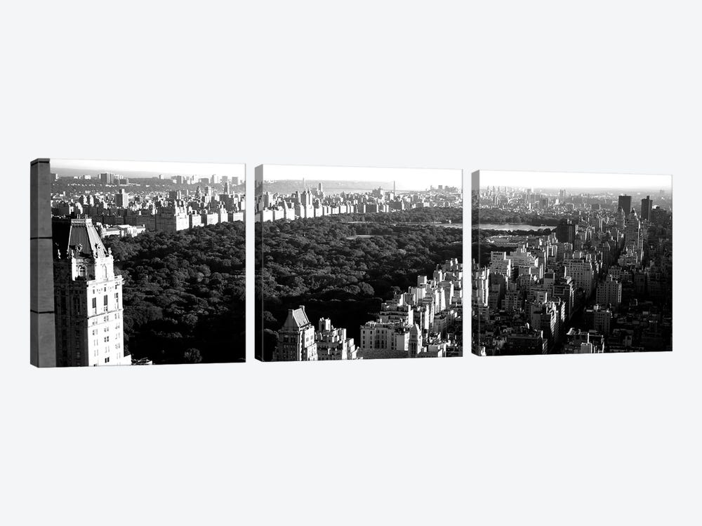 High-Angle View Of Buildings In A City, Central Park, Manhattan, New York City, New York State, USA by Panoramic Images 3-piece Canvas Art Print