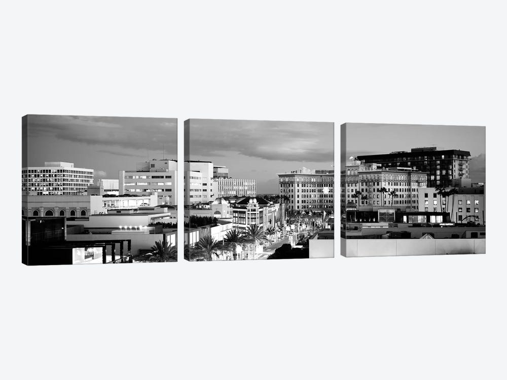 High-Angle View Of Buildings In A City, Rodeo Drive, Beverly Hills, California, USA by Panoramic Images 3-piece Canvas Art