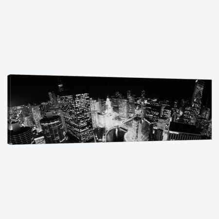 High-Angle View Of Chicago At Night Canvas Print #PIM15150} by Panoramic Images Canvas Wall Art