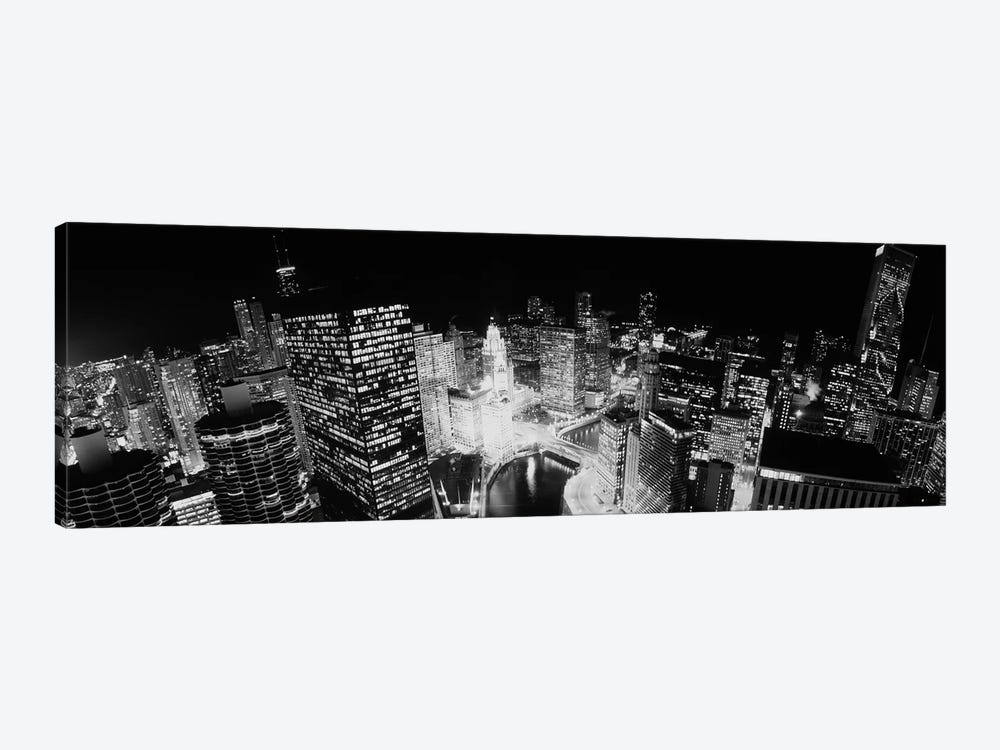 High-Angle View Of Chicago At Night by Panoramic Images 1-piece Canvas Art