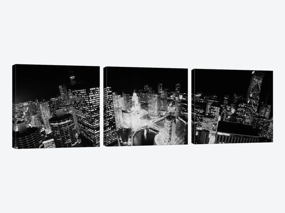 High-Angle View Of Chicago At Night by Panoramic Images 3-piece Canvas Wall Art
