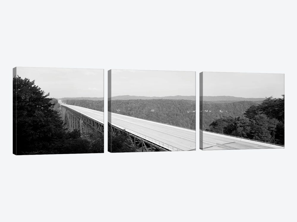 High-Angle View Of New River Gorge Bridge, Route 19, West Virginia, USA by Panoramic Images 3-piece Art Print