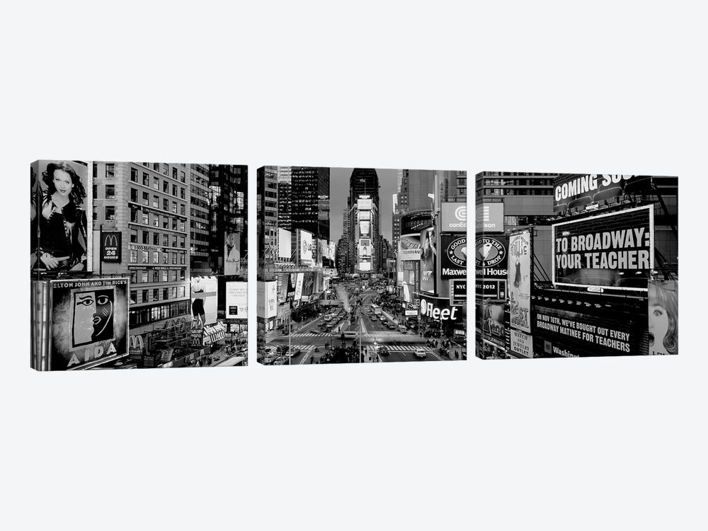 High-Angle View Of Traffic On A Road, Times Square, Manhattan, New York City, New York State, USA by Panoramic Images 3-piece Canvas Wall Art