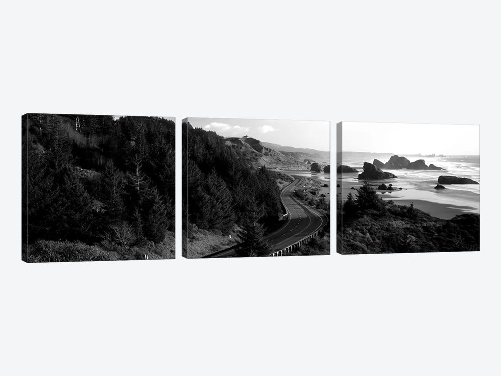 Highway Along A Coast, Highway 101, Pacific Coastline, Oregon, USA by Panoramic Images 3-piece Canvas Artwork